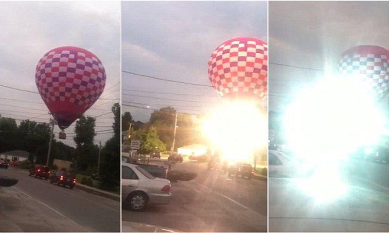 Shpërthimi i balonës pasi bie në kontakt me kabllot e tensionit