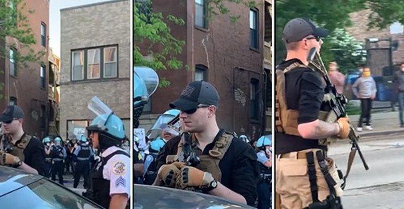 I riu shkon në protestë me automatik dhe veshje ushtarake, policia e