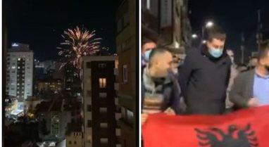 Me fishekzjarrë e flamurin shqiptar, mbështetësit e