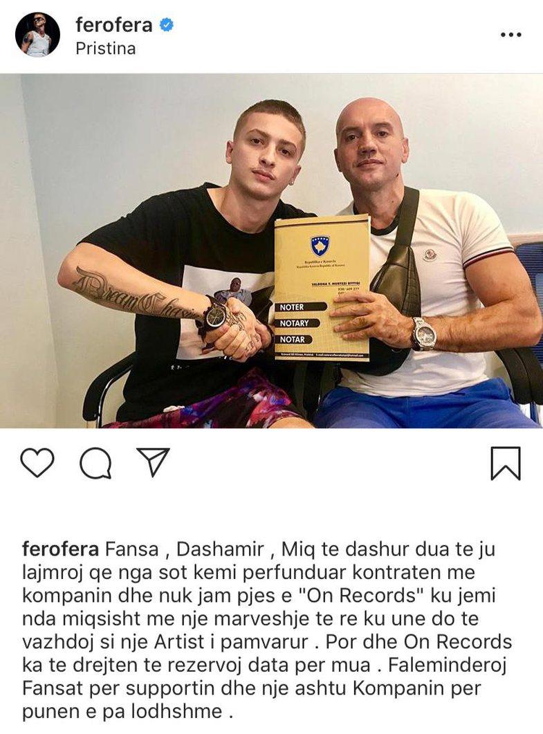 Fero largohet nga 'On Records'