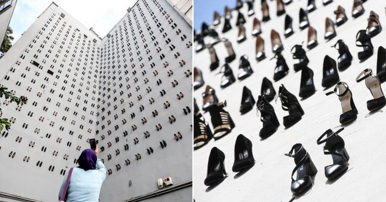 The artist hangs 440 pairs of shoes for 440 women victims of domestic violence