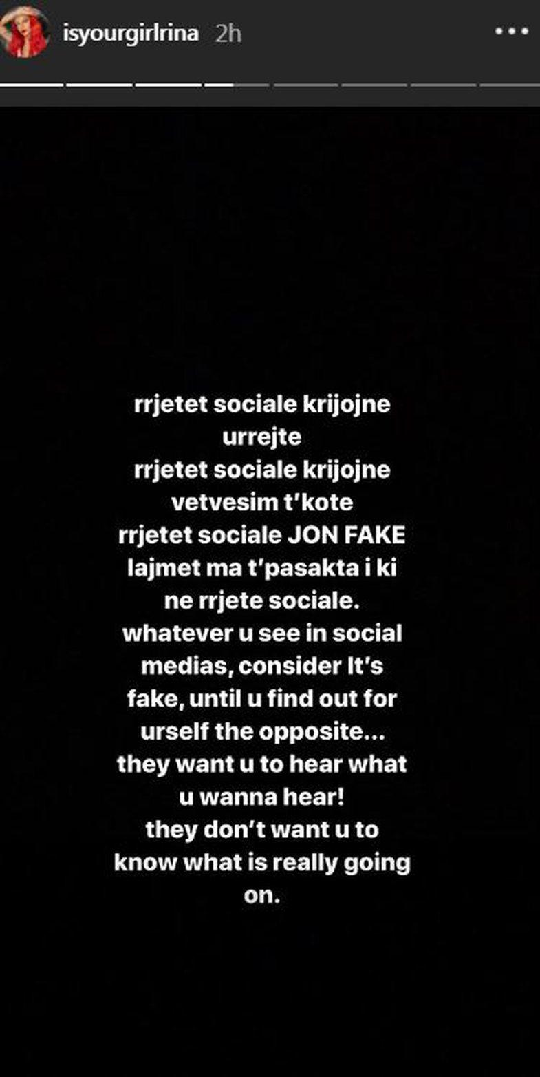 Rina reagon për herë të parë rreth Instagram-it: