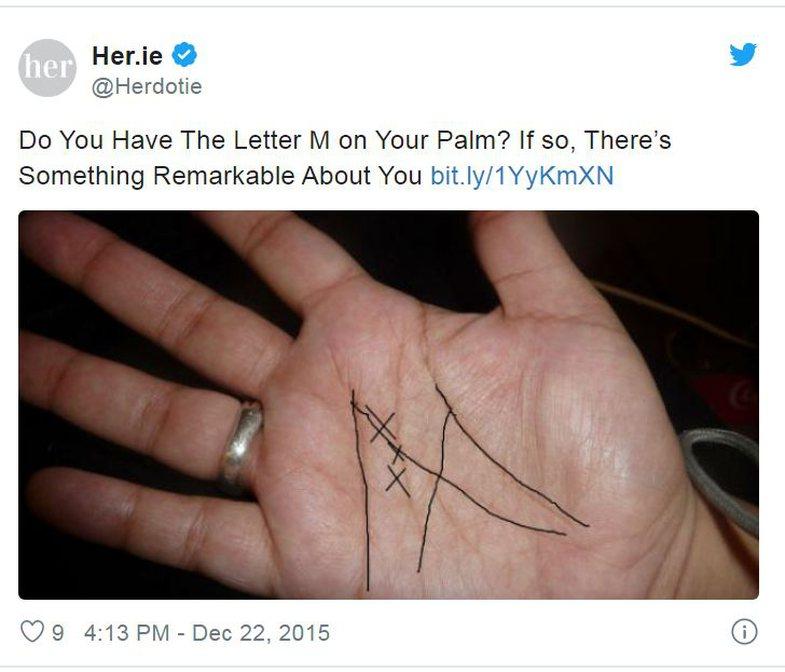 Shkronja 'M' në pëllëmbë të dorës: