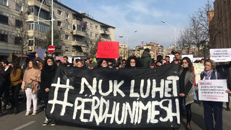 Protest in Tirana against sexual abuse