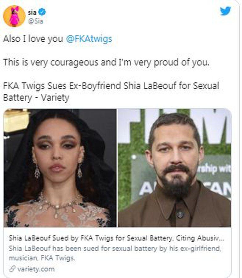 Pas rastit tronditës, Sia i del në mbrojtje FKA twigs dhe akuzon