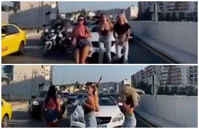 Çmenduri në Tiranë, vajzat ndalojnë makinën dhe