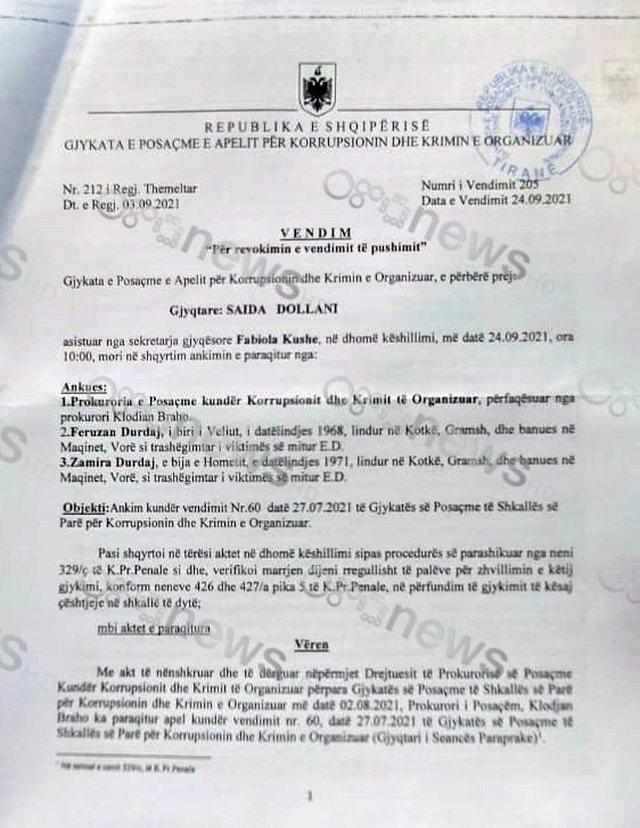 """""""Gërdeci"""" Zbardhet vendimi i Apelit për Fatmir Mediun:"""