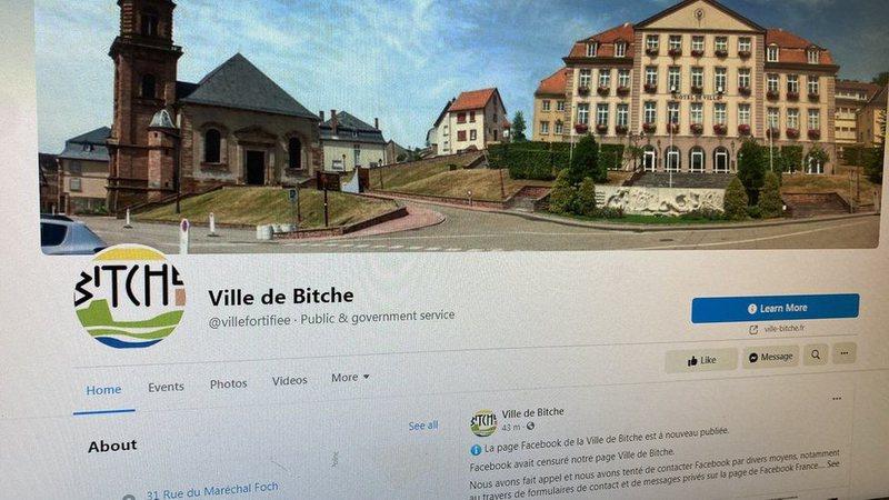 Facebook fshin gabimisht faqen e qytetit Francez, Ville di Bitche