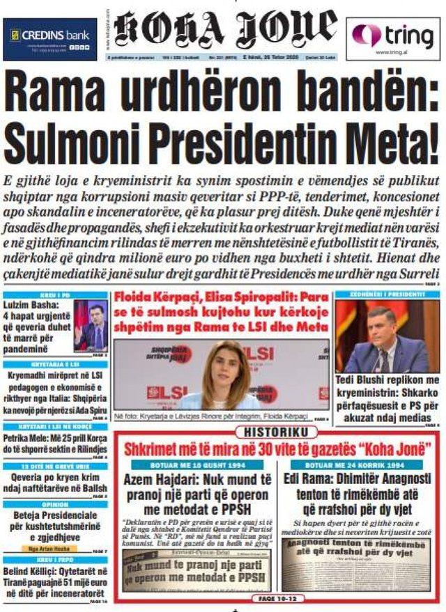 """Shtypi i ditës/""""Rama urdhëron bandën: Sulmoni presidentin"""