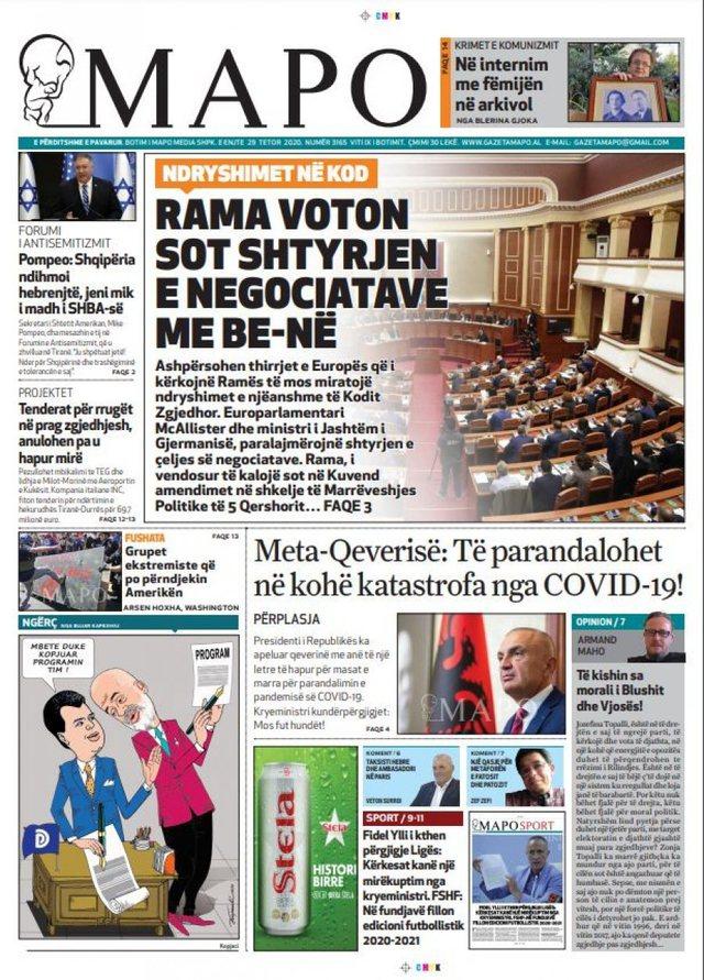 """Shtypi i ditës/""""Presion europian për Kodin"""", """"Rama"""