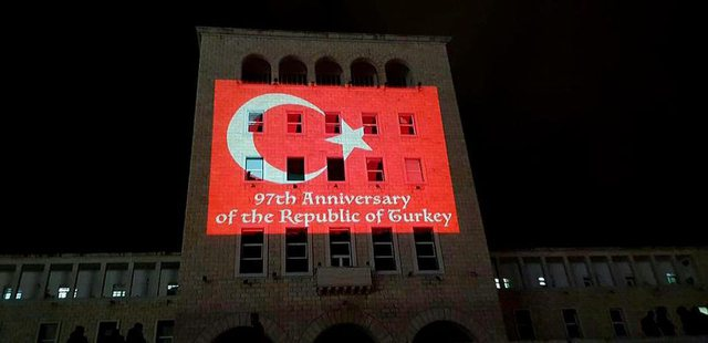Flamuri i Turqisë mbi Universitetin Politeknik të Tiranës, cili