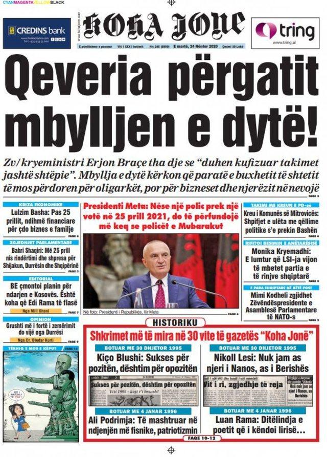 """Shtypi i ditës/ """"Qeveria po përgatit mbylljen e dytë"""","""