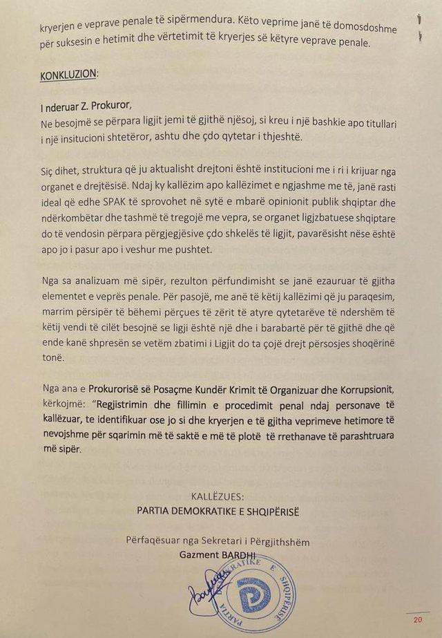 Dokumenti/ PD padit në SPAK Edi Ramën dhe 15 zyrtarë të