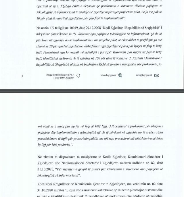 Identifikimi elektronik i votuesve/ KQZ letër partive politike: Jemi