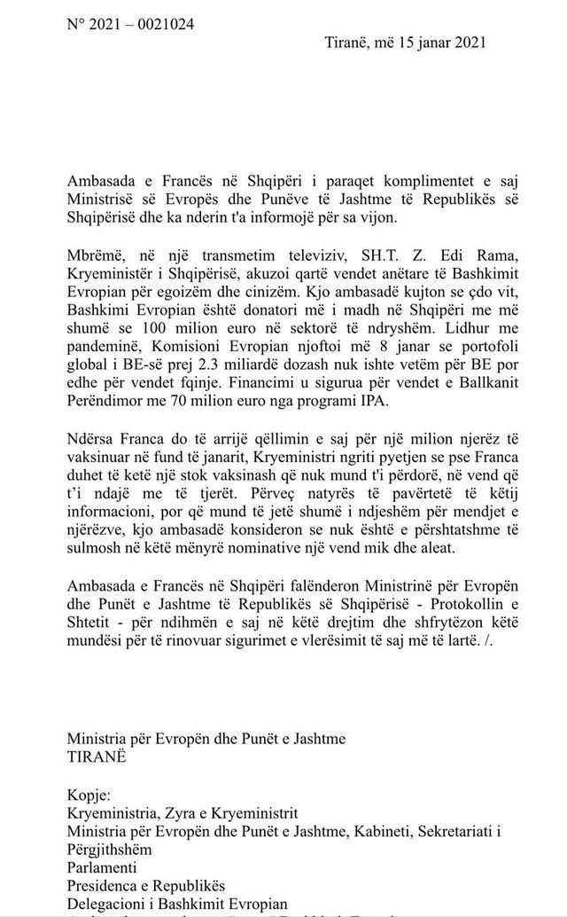 Vaccination / Accused EU countries of cynicism, French embassy responds to Rama: