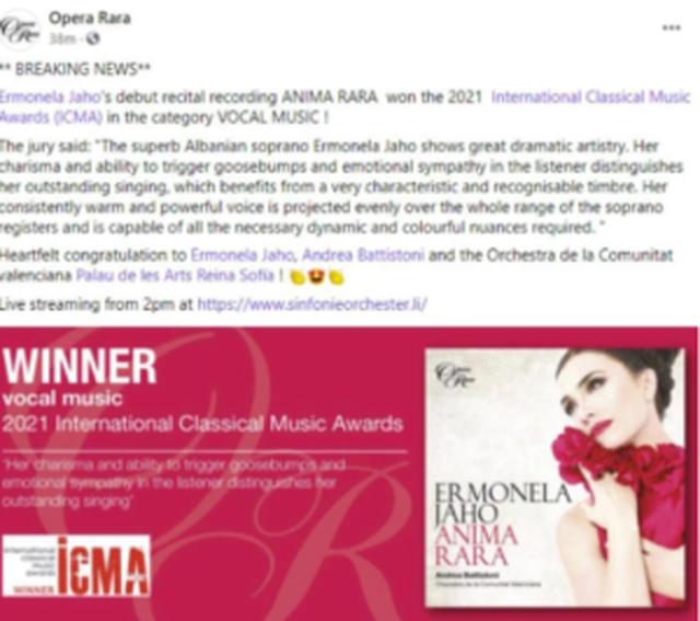 Ermonela Jaho shpallet nga 'Internacional Cassical Music Awards' si
