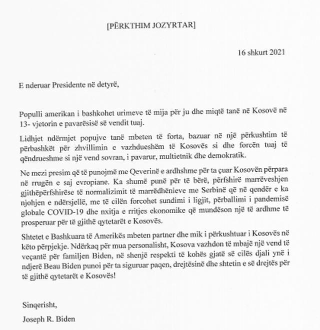 Presidenti i SHBA i shkruan Vjosa Osmanit: Kosova ka vend të