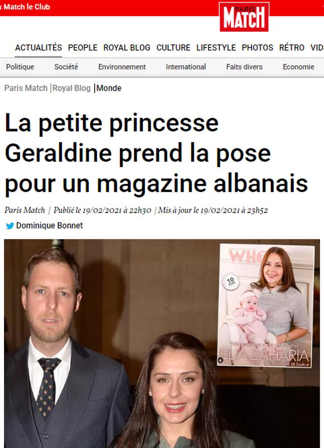 Princesha e vogël Geraldinë në faqen e revistës së