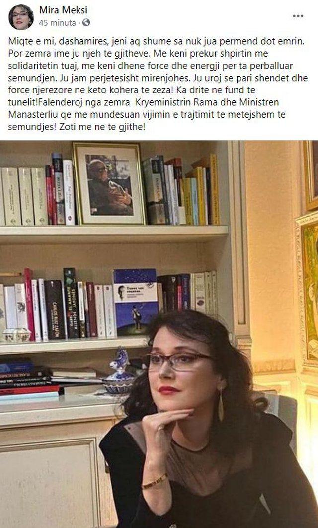 Vaksinohet Mira Meksi, mesazh për solidaritetin e treguar: Ma keni prekur