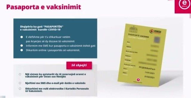 Si do të duket pasaporta shqiptare e vaksinimit kundër Covid-19