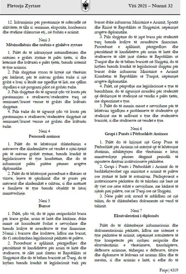 Albanian Government Document / Decision: Turkish language elective subject in