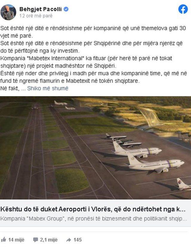 Behgjet Pacolli reagon për Aeroportin e Vlorës: Do të jetë