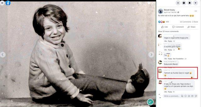 Poston foton kur ishte i vogël, Blendi Fevziun e krahasojnë me Aurela