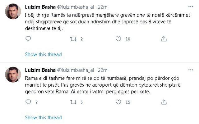 Pezullimi i fluturimeve, Basha akuza Ramës: Je i vetmi