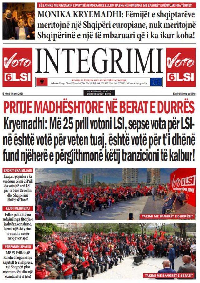 """Shtypi i ditës/ """"Shqiptarët nën patronazhin informativ"""