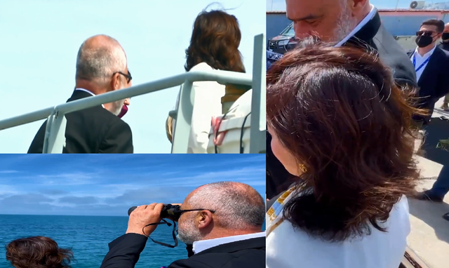 Rama and Yuri Kim sail in the Adriatic Sea with the American military ship
