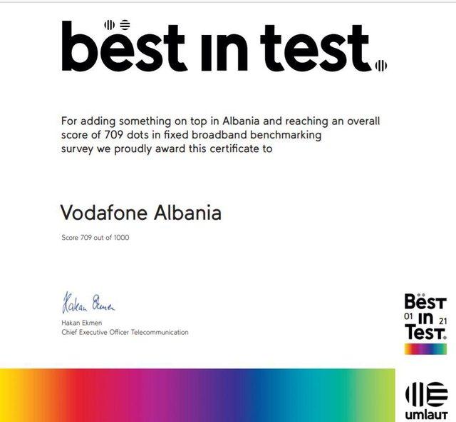 Umlaut vlerëson Vodafone Albania rrjeti më i mirë fiks në
