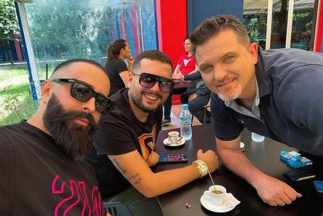 "While Marina is working, Getoari enjoys coffee with ""Klanifornia"" boys"
