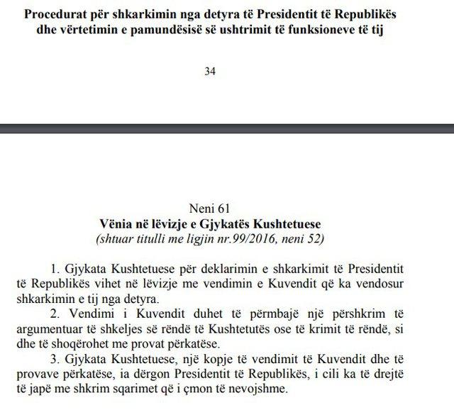 """Kuvendi e shkarkoi, """"presidenti shkon"""" në Gjykatën"""
