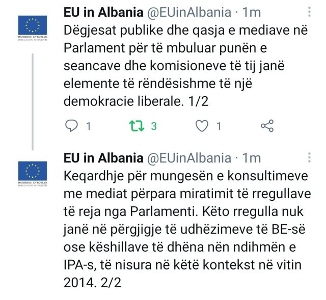 Ndalimi i mediave në komisionet parlamentare, BE përgënjeshtron
