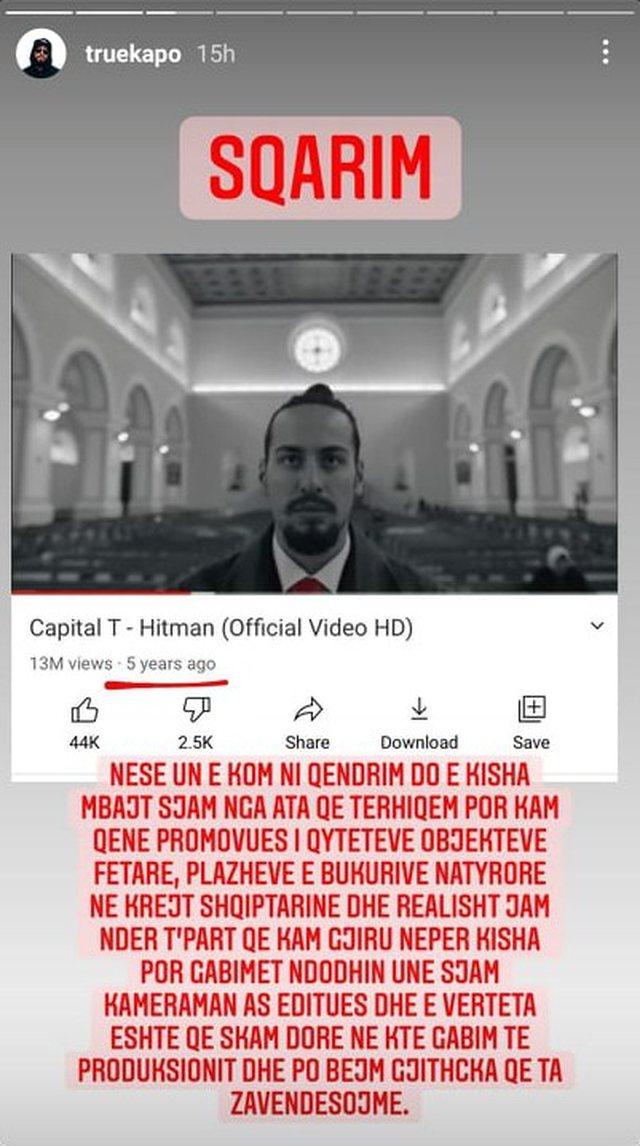 U kritikua për heqjen e kryqit nga klipi, Capital T thyen heshtjen: