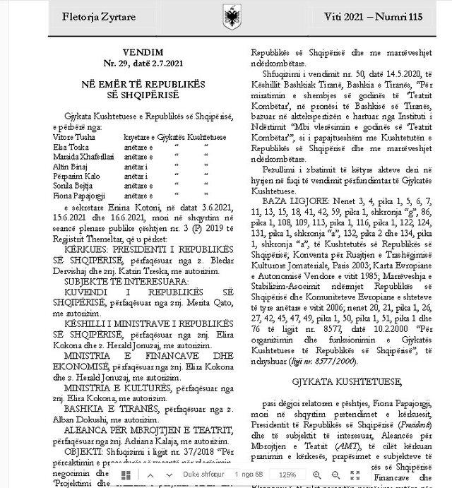 Publikohet në Fletoren Zyrtare vendimi i Gjykatës Kushtetuese për
