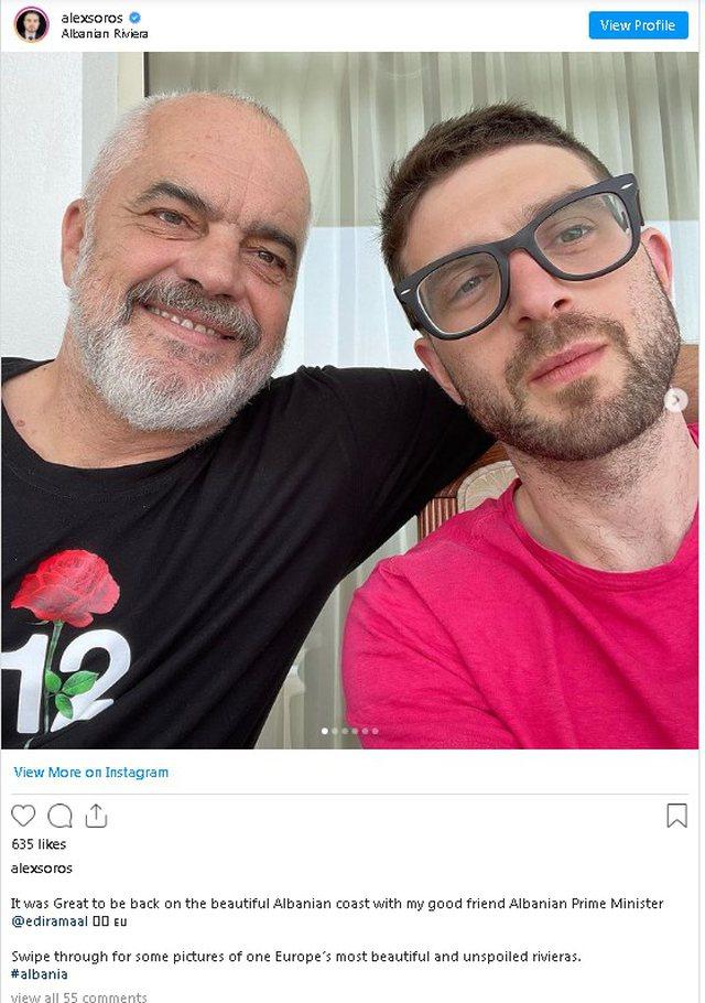 Djali i George Soros pushime në Shqipëri, poston foto me Ramën: