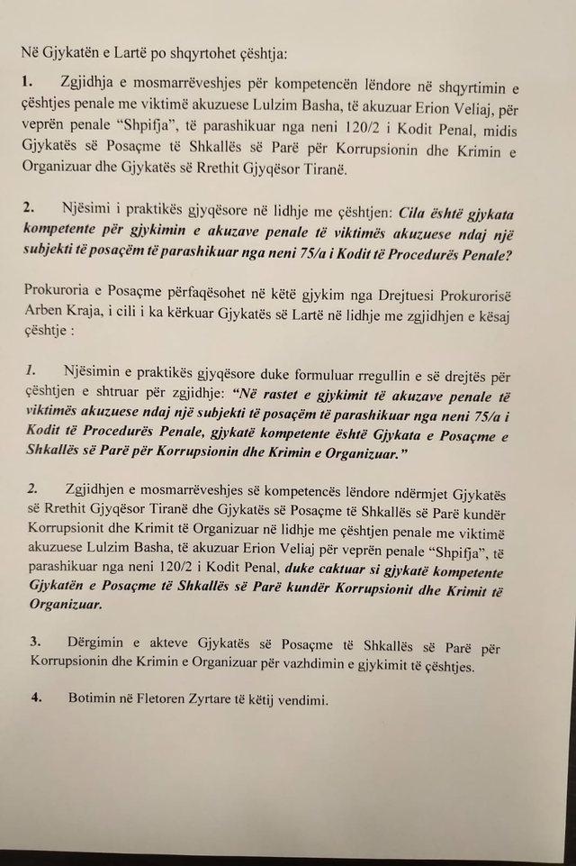 Basha's lawsuit against Veliaj / High Court unifying decision: Defamation
