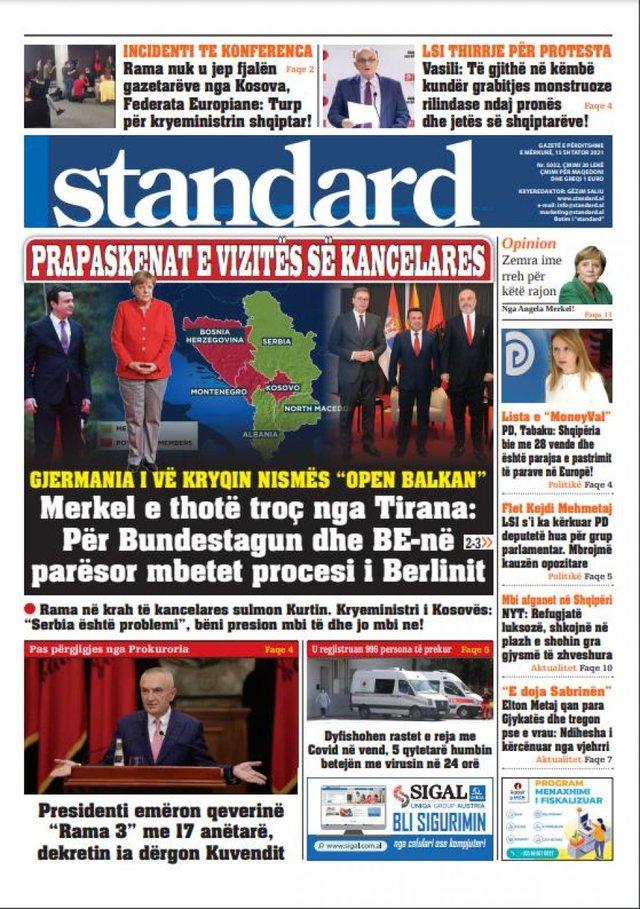 """Shtypi i ditës/ """"Merkel nuk e shuan rivalitetin Rama-Kurti"""","""