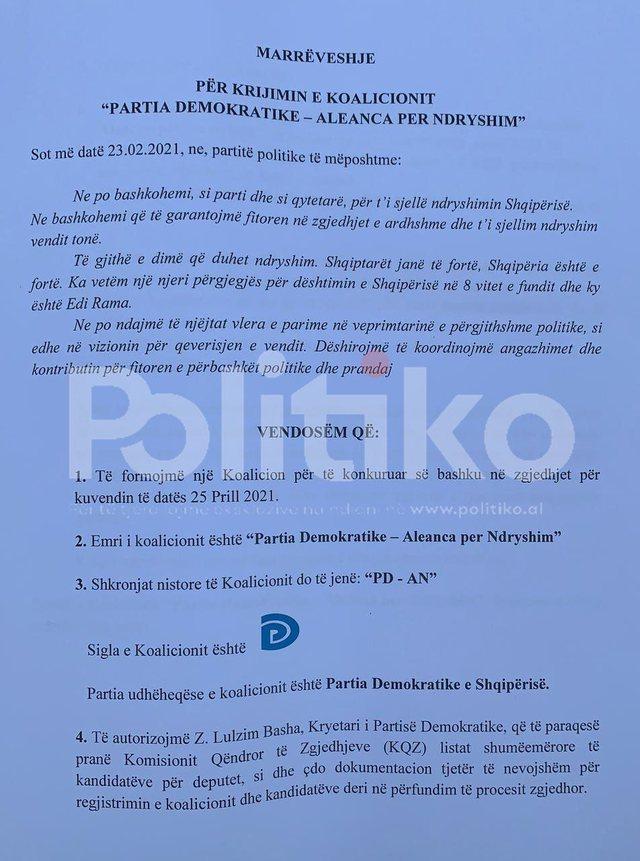 Dokumenti/ Koalicioni parazgjedhor, zbardhen pikat e marrëveshjes së