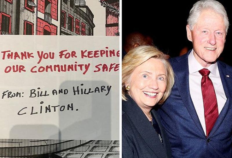 Në shenjë mirënjohje, Hillary dhe Bill Klinton dërgojnë