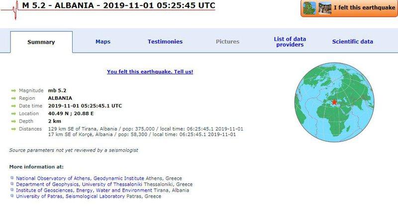 Tërmet i fuqishëm në Korçë / Tronditen dhe zonat