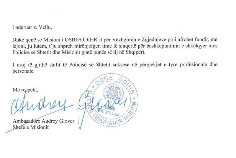 Zgjedhjet e 30 qershorit, shefja e OSBE/ODIHR letër Ardi Veliut (E