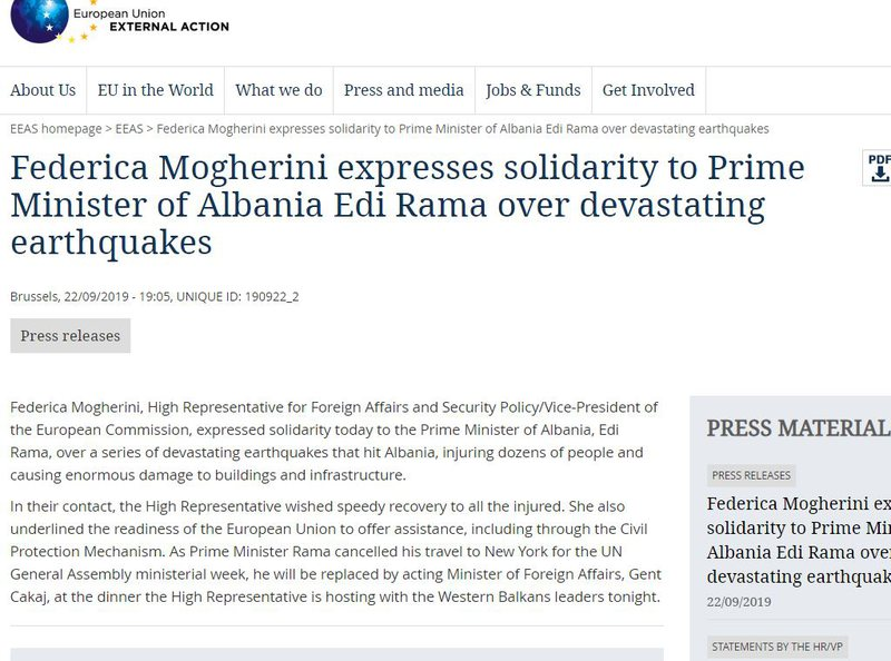 Tërmeti 5.8 ballësh shkundi Shqipërinë, Federica Mogherini