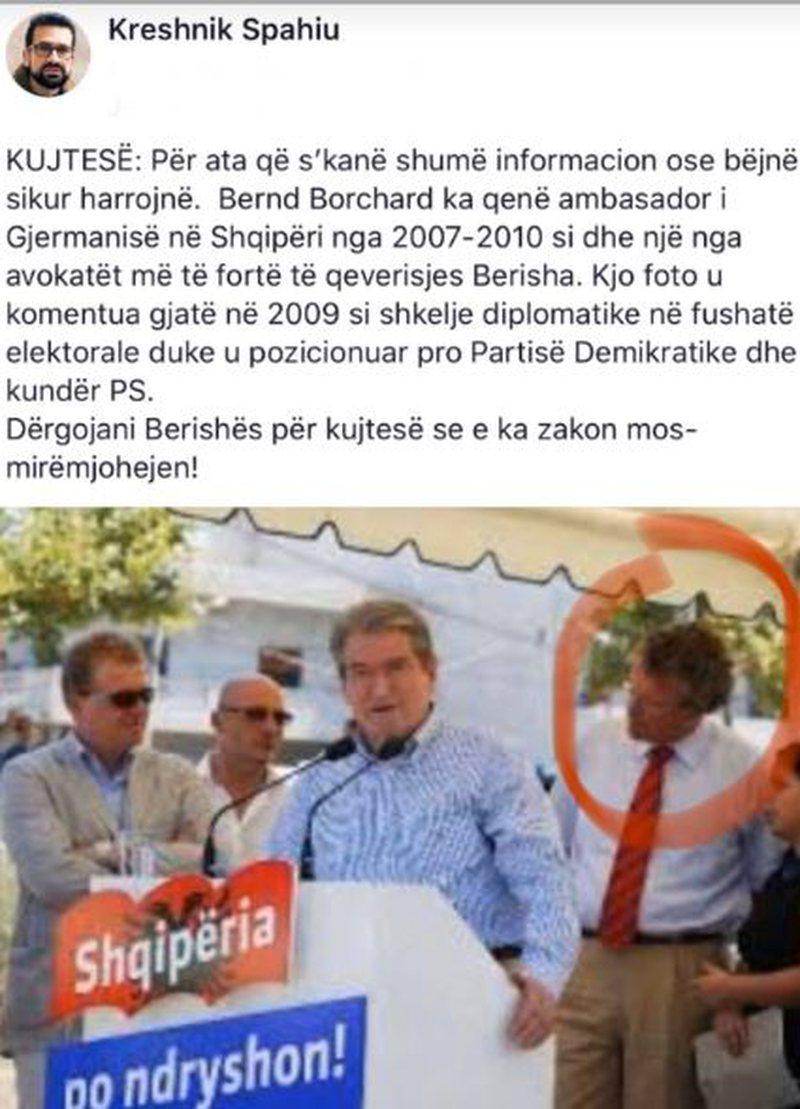 Borchardt 'non grata', Kreshnik Spahiu publikon foton dhe bën