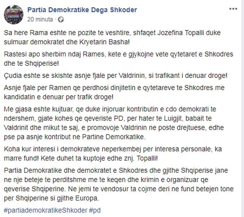 Jozefina Topalli sulmoi rëndë Lulzim Bashën, reagon PD: Valdrinin