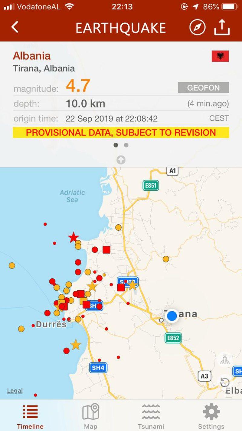 Tërmeti trondit  sërish Shqipërinë, ja ku ishte epiqendra