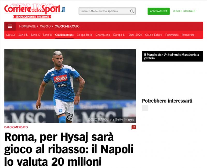 """Futbollisti shqiptar zyrtarisht te Roma? """"Corriere dello Sport"""""""