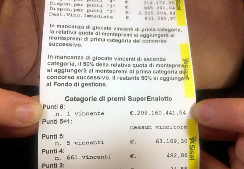 Fitoi lotarinë 209 milionë euro me 2 euro biletë, fituesi i
