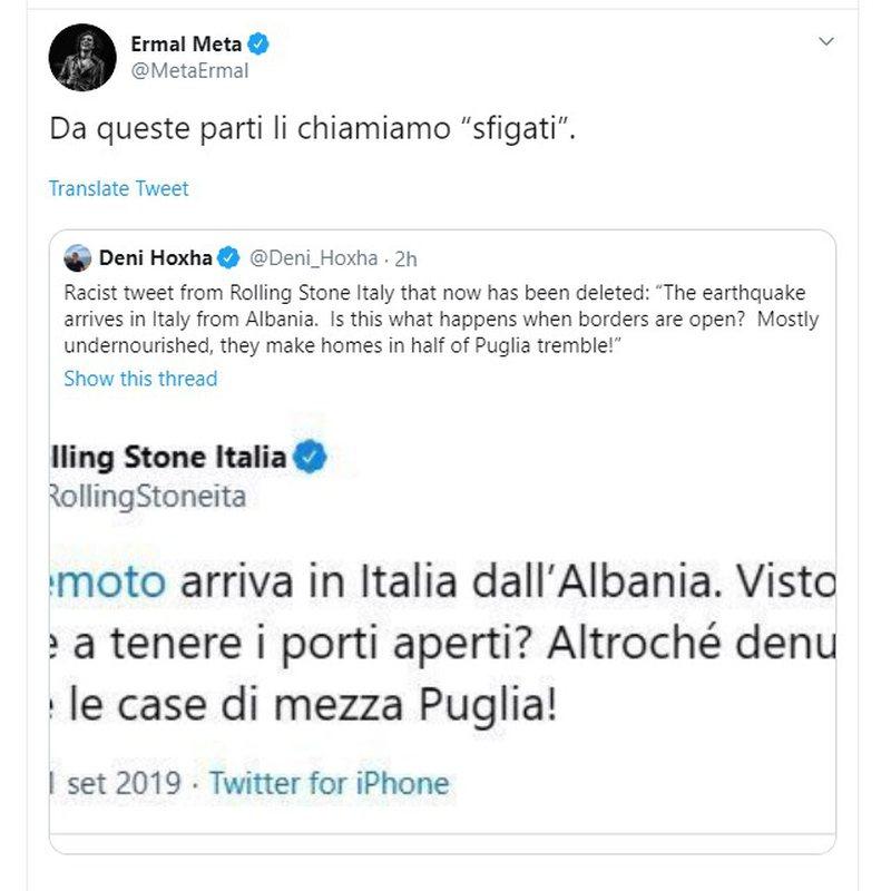 Media e famshme italiane shokon me postimin racist pas tërmetit për